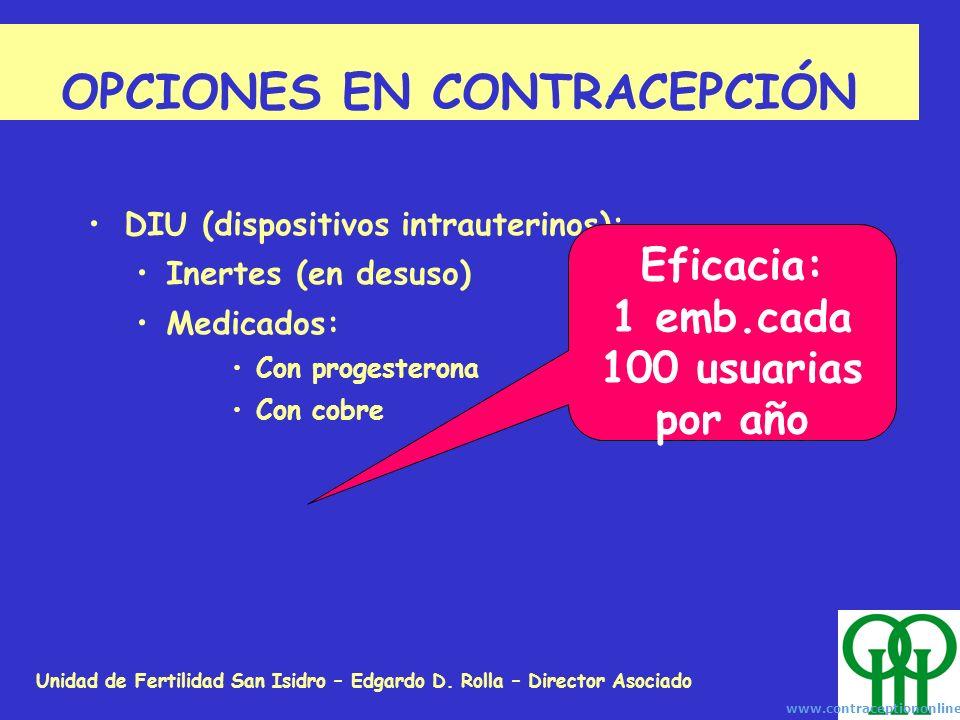 Unidad de Fertilidad San Isidro – Edgardo D. Rolla – Director Asociado OPCIONES EN CONTRACEPCIÓN DIU (dispositivos intrauterinos): Inertes (en desuso)