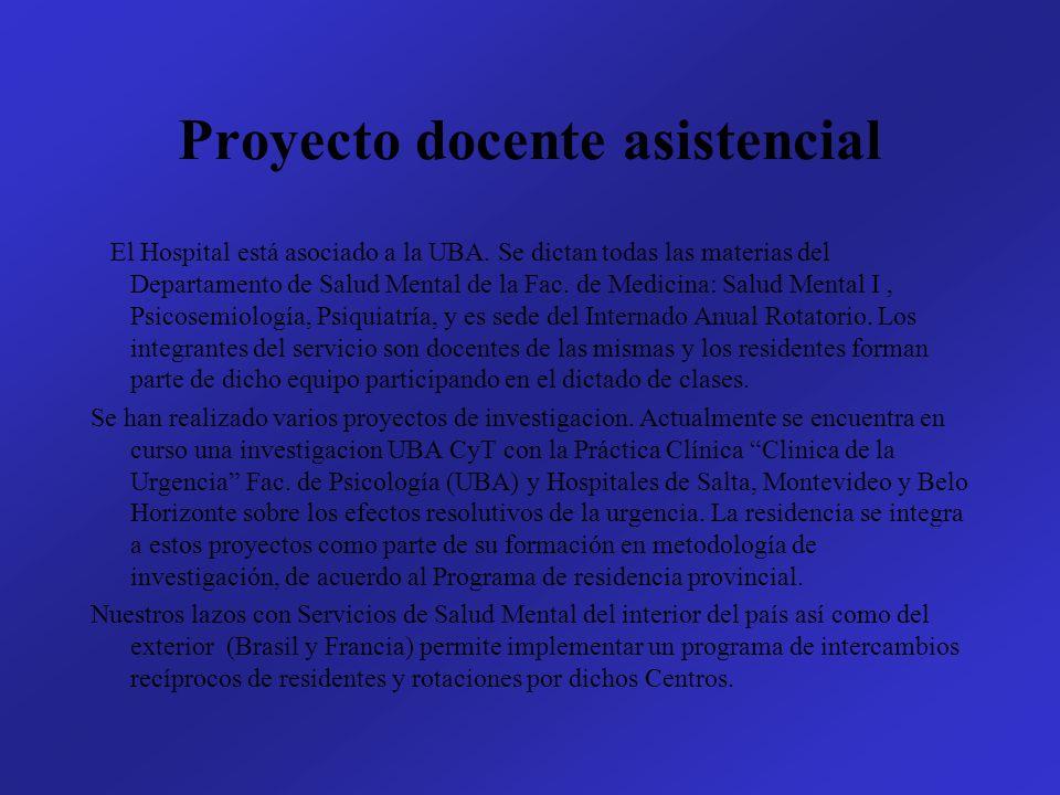 Proyecto docente asistencial El Hospital está asociado a la UBA. Se dictan todas las materias del Departamento de Salud Mental de la Fac. de Medicina:
