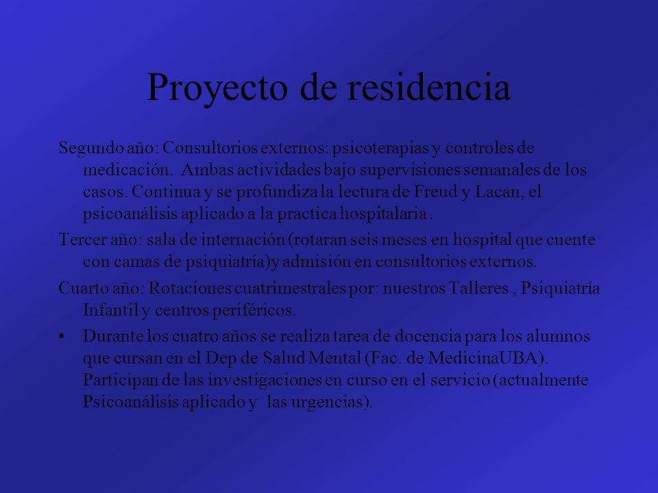 Proyecto de residencia Segundo año: Consultorios externos: psicoterapias y controles de medicación. Ambas actividades bajo supervisiones semanales de