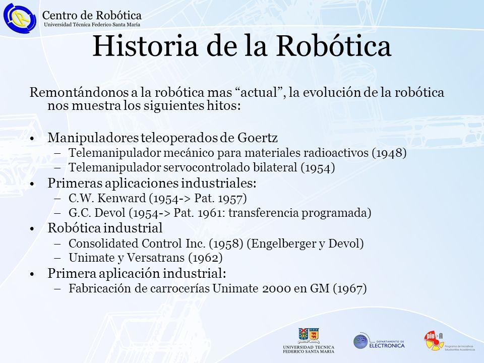 Remontándonos a la robótica mas actual, la evolución de la robótica nos muestra los siguientes hitos: Manipuladores teleoperados de Goertz –Telemanipu