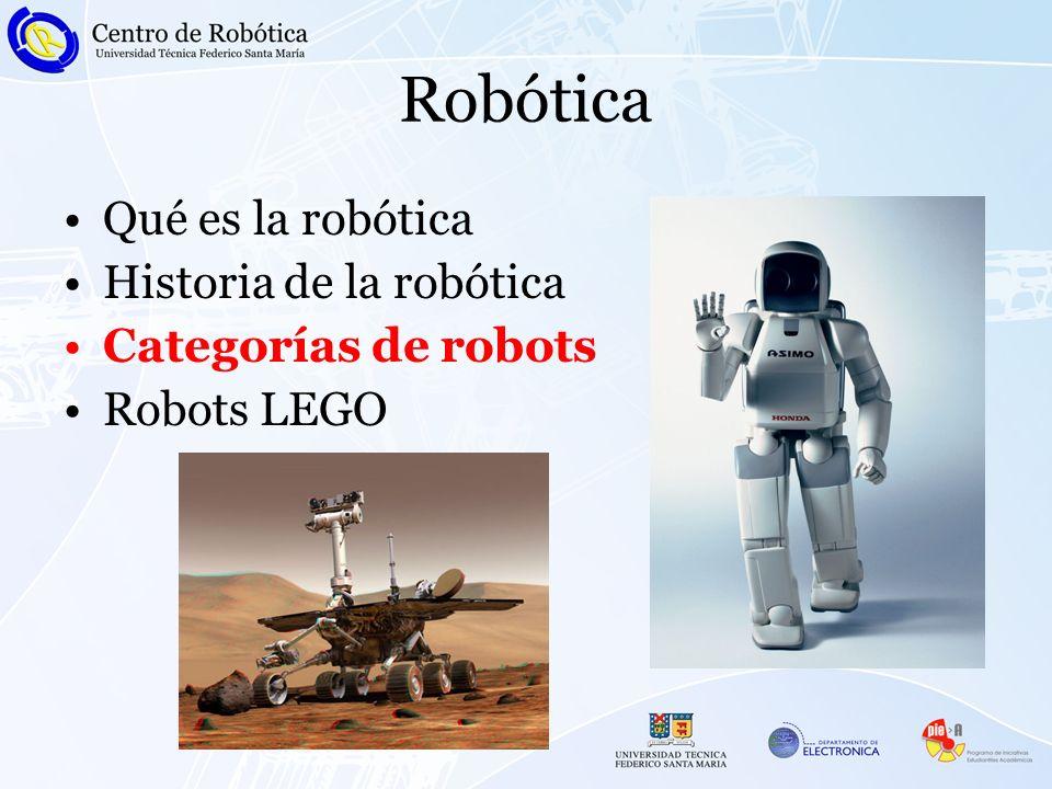 Robótica Qué es la robótica Historia de la robótica Categorías de robots Robots LEGO