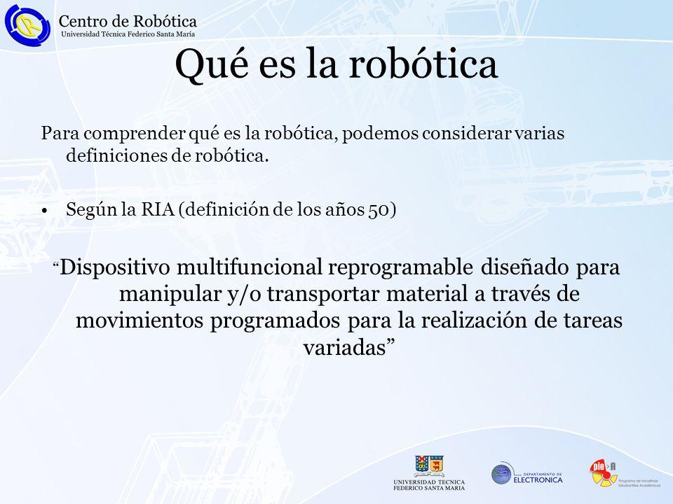 Qué es la robótica Para comprender qué es la robótica, podemos considerar varias definiciones de robótica. Según la RIA (definición de los años 50) Di