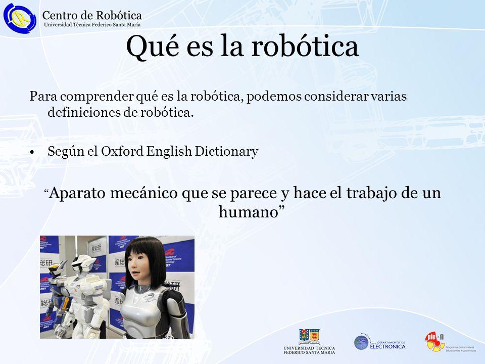 Qué es la robótica Para comprender qué es la robótica, podemos considerar varias definiciones de robótica. Según el Oxford English Dictionary Aparato