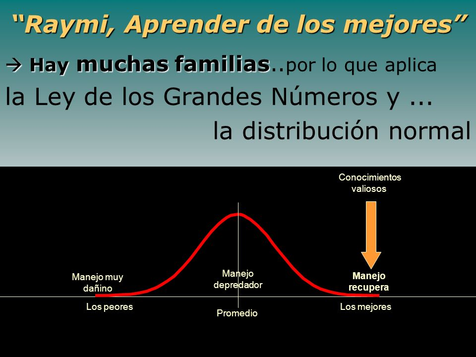 Raymi, Aprender de los mejores Hay muchas familias Hay muchas familias.. por lo que aplica la Ley de los Grandes Números y... la distribución normal L