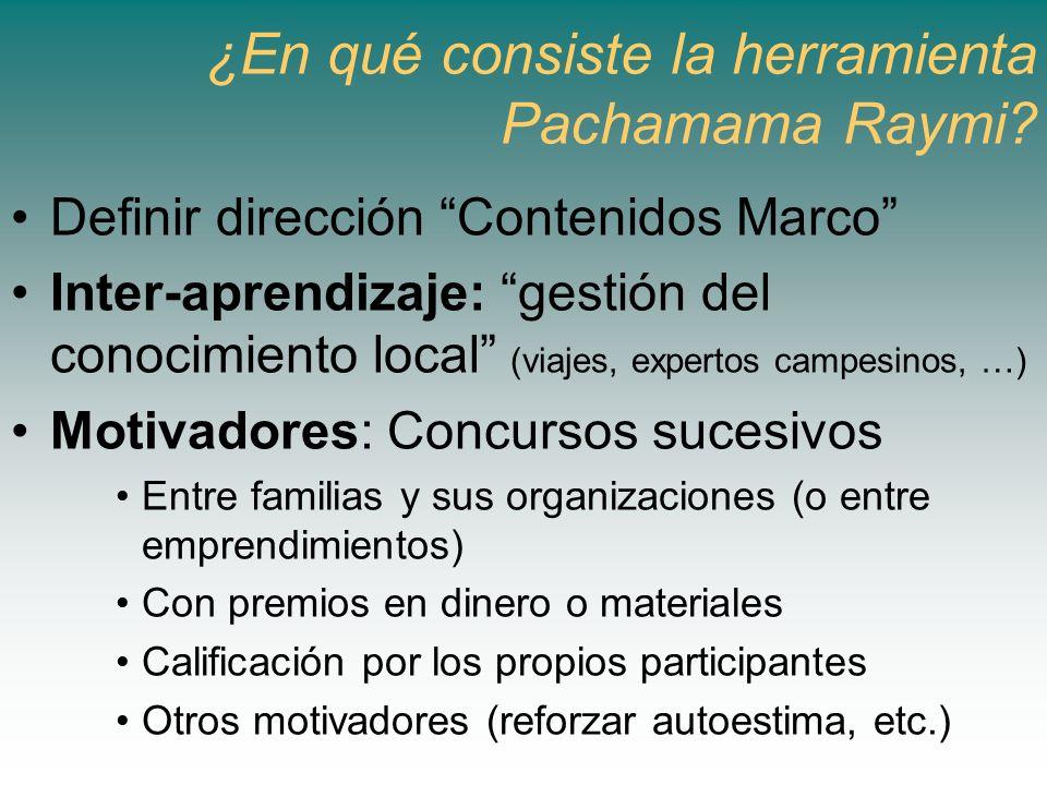 ¿En qué consiste la herramienta Pachamama Raymi? Definir dirección Contenidos Marco Inter-aprendizaje: gestión del conocimiento local (viajes, experto