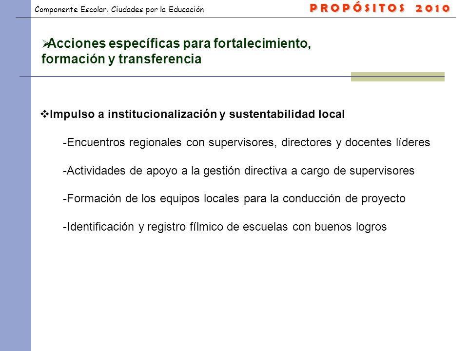 Componente Escolar. Ciudades por la Educación Acciones específicas para fortalecimiento, formación y transferencia Impulso a institucionalización y su