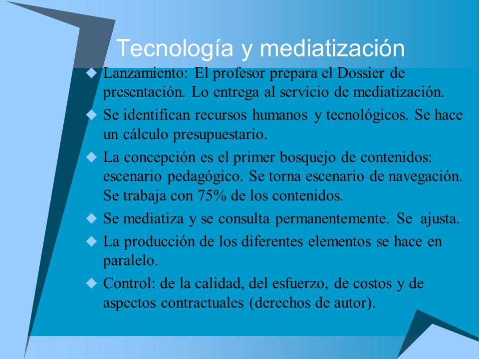 Tecnología y mediatización Lanzamiento: El profesor prepara el Dossier de presentación. Lo entrega al servicio de mediatización. Se identifican recurs