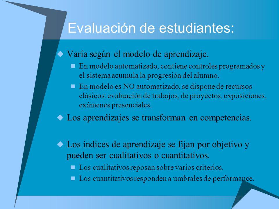 Evaluación de estudiantes: Varía según el modelo de aprendizaje. En modelo automatizado, contiene controles programados y el sistema acumula la progre