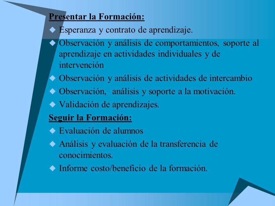 Presentar la Formación: Esperanza y contrato de aprendizaje. Observación y análisis de comportamientos, soporte al aprendizaje en actividades individu