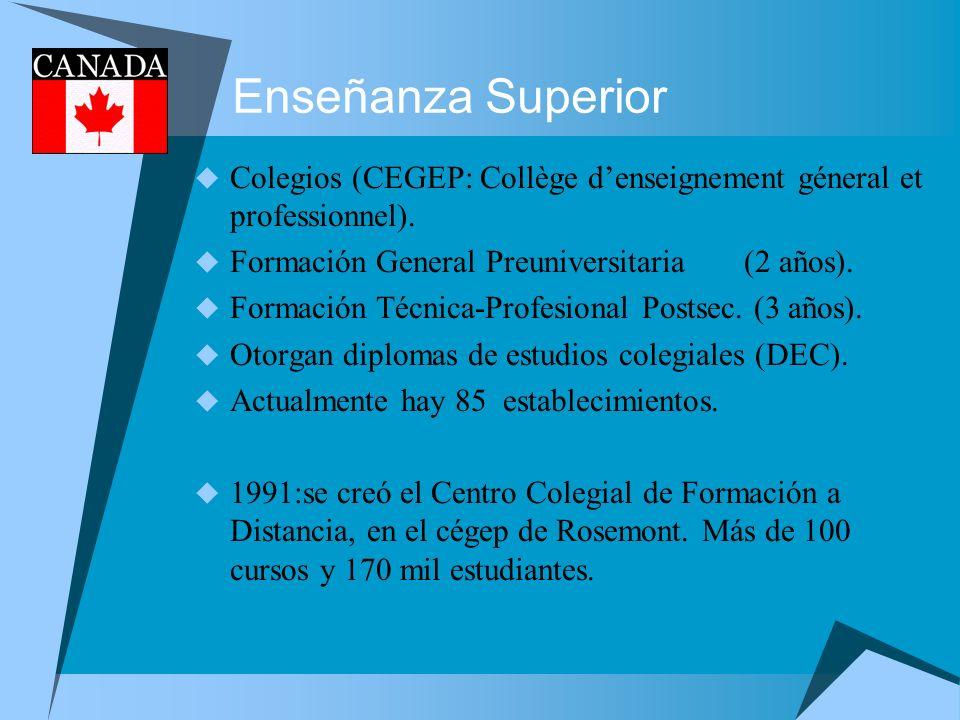 Enseñanza Superior Colegios (CEGEP: Collège denseignement géneral et professionnel). Formación General Preuniversitaria (2 años). Formación Técnica-Pr