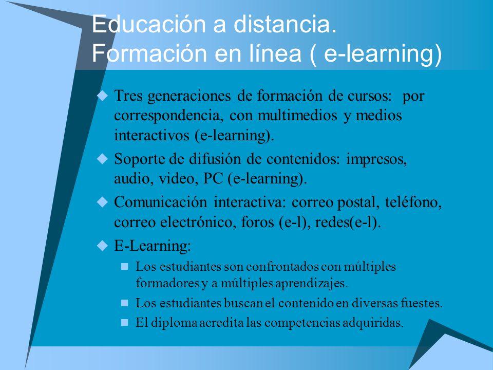 Educación a distancia. Formación en línea ( e-learning) Tres generaciones de formación de cursos: por correspondencia, con multimedios y medios intera