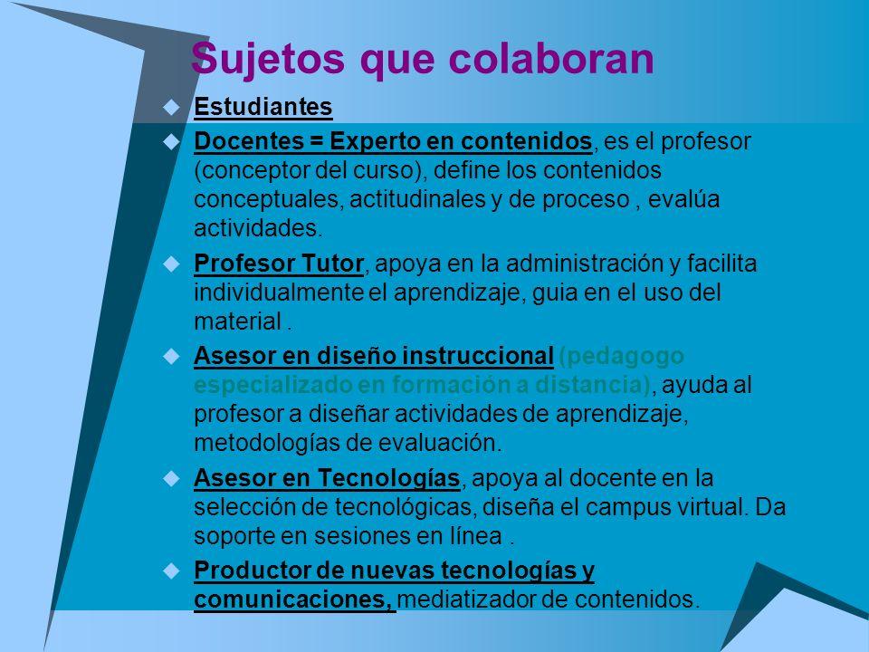 Sujetos que colaboran Estudiantes Docentes = Experto en contenidos, es el profesor (conceptor del curso), define los contenidos conceptuales, actitudi