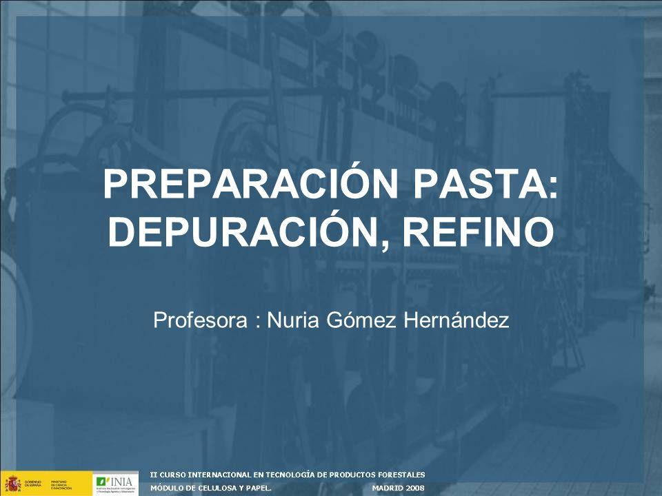 PREPARACIÓN PASTA: DEPURACIÓN, REFINO Profesora : Nuria Gómez Hernández