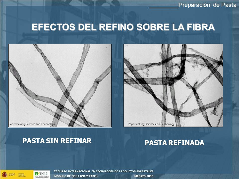 EFECTOS DEL REFINO SOBRE LA FIBRA PASTA SIN REFINAR PASTA REFINADA Papermaking Science and Technology _________Preparación de Pasta