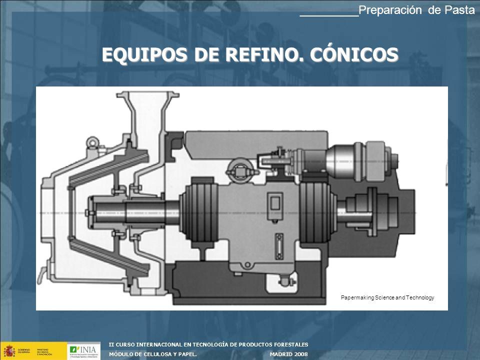EQUIPOS DE REFINO. CÓNICOS Papermaking Science and Technology _________Preparación de Pasta