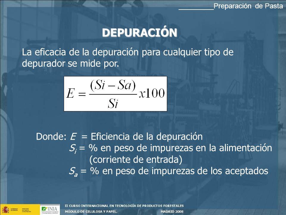 DEPURACIÓN Donde: E = Eficiencia de la depuración S i = % en peso de impurezas en la alimentación (corriente de entrada) S a = % en peso de impurezas de los aceptados La eficacia de la depuración para cualquier tipo de depurador se mide por.