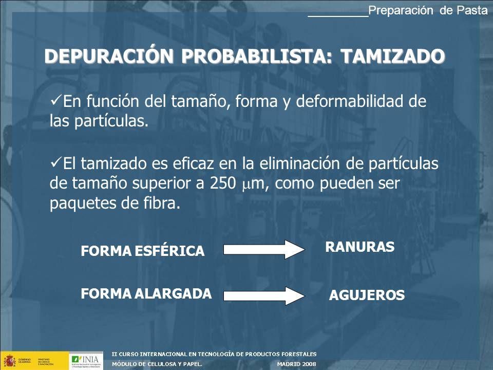 DEPURACIÓN PROBABILISTA: TAMIZADO En función del tamaño, forma y deformabilidad de las partículas.