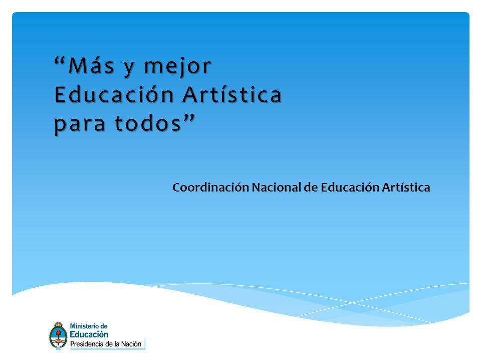 Coordinación Nacional de Educación Artística Más y mejor Educación Artística para todos