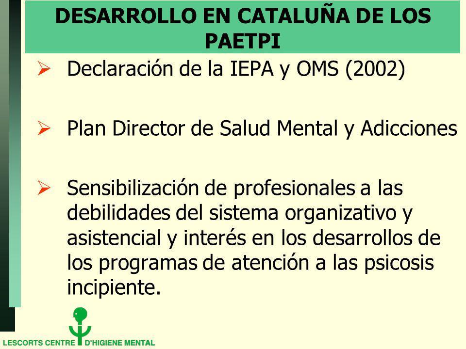 DESARROLLO EN CATALUÑA DE LOS PAETPI Declaración de la IEPA y OMS (2002) Plan Director de Salud Mental y Adicciones Sensibilización de profesionales a las debilidades del sistema organizativo y asistencial y interés en los desarrollos de los programas de atención a las psicosis incipiente.