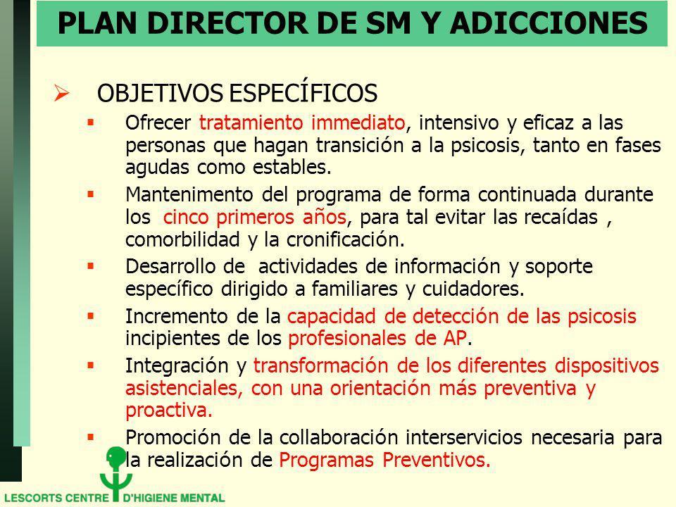 PLAN DIRECTOR DE SM Y ADICCIONES OBJETIVOS ESPEC Í FICOS Ofrecer tratamiento immediato, intensivo y eficaz a las personas que hagan transici ó n a la
