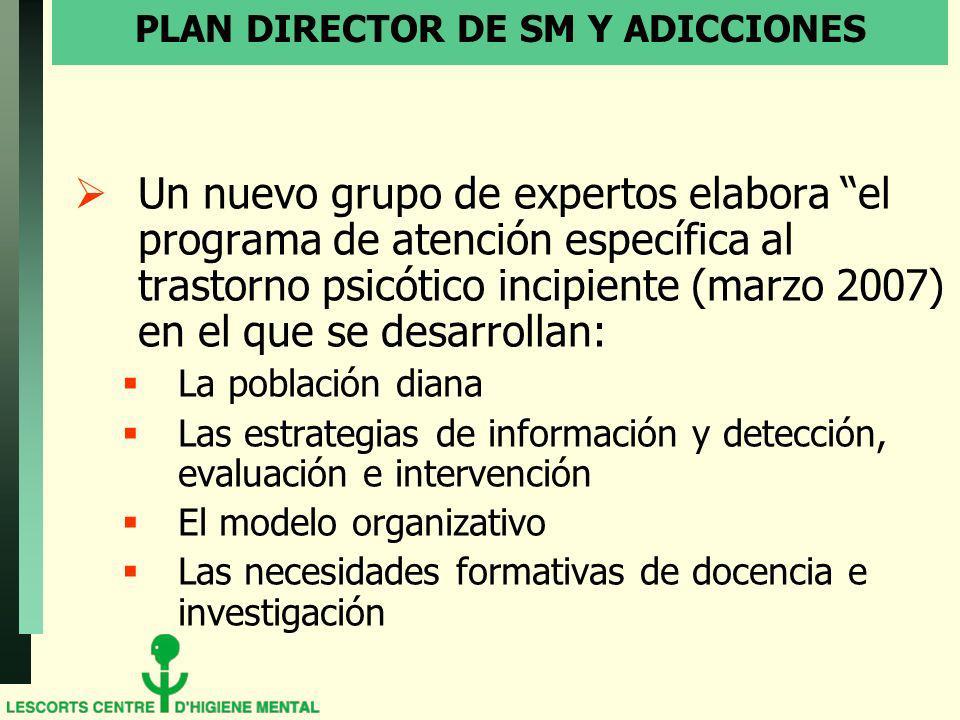 PLAN DIRECTOR DE SM Y ADICCIONES Un nuevo grupo de expertos elabora el programa de atención específica al trastorno psicótico incipiente (marzo 2007)