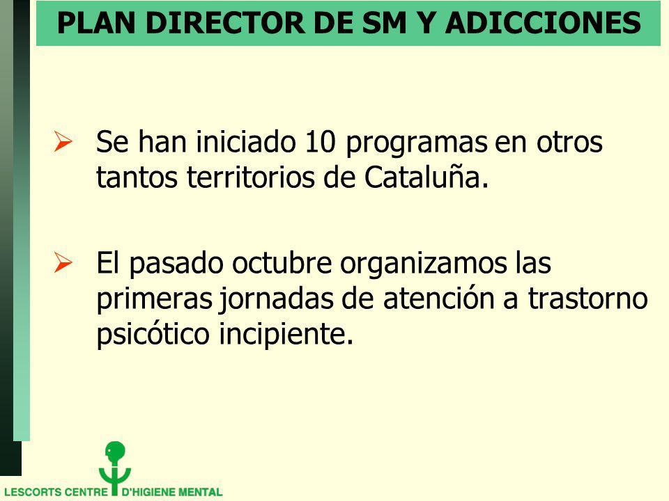 PLAN DIRECTOR DE SM Y ADICCIONES Se han iniciado 10 programas en otros tantos territorios de Cataluña. El pasado octubre organizamos las primeras jorn