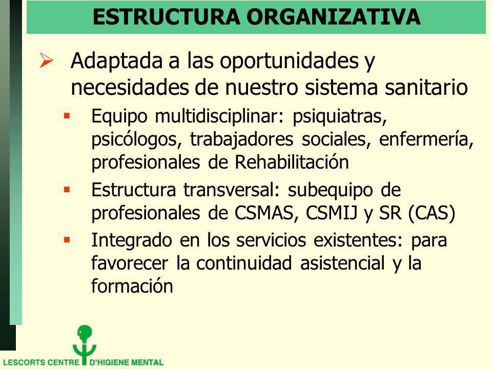 ESTRUCTURA ORGANIZATIVA Adaptada a las oportunidades y necesidades de nuestro sistema sanitario Equipo multidisciplinar: psiquiatras, psicólogos, trab