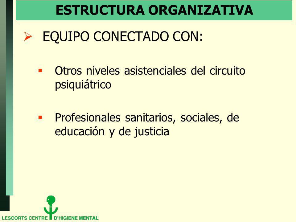 ESTRUCTURA ORGANIZATIVA EQUIPO CONECTADO CON: Otros niveles asistenciales del circuito psiquiátrico Profesionales sanitarios, sociales, de educación y de justicia