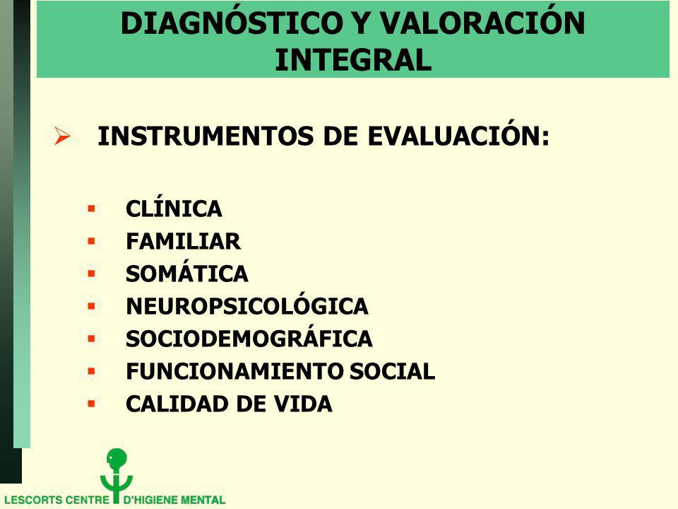 DIAGNÓSTICO Y VALORACIÓN INTEGRAL INSTRUMENTOS DE EVALUACIÓN: CLÍNICA FAMILIAR SOMÁTICA NEUROPSICOLÓGICA SOCIODEMOGRÁFICA FUNCIONAMIENTO SOCIAL CALIDA