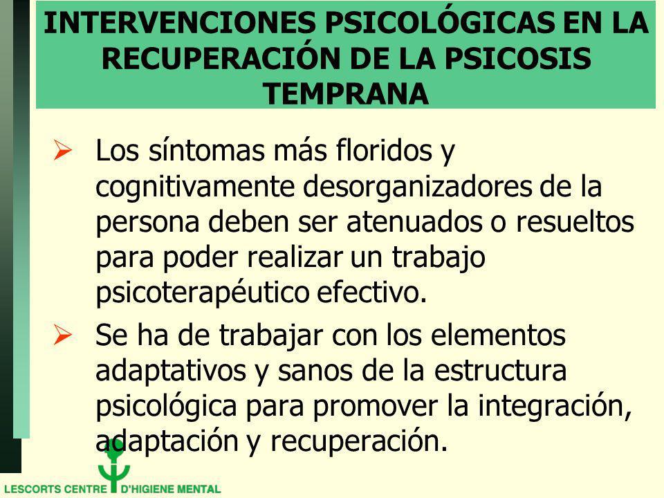 INTERVENCIONES PSICOLÓGICAS EN LA RECUPERACIÓN DE LA PSICOSIS TEMPRANA Los síntomas más floridos y cognitivamente desorganizadores de la persona deben ser atenuados o resueltos para poder realizar un trabajo psicoterapéutico efectivo.