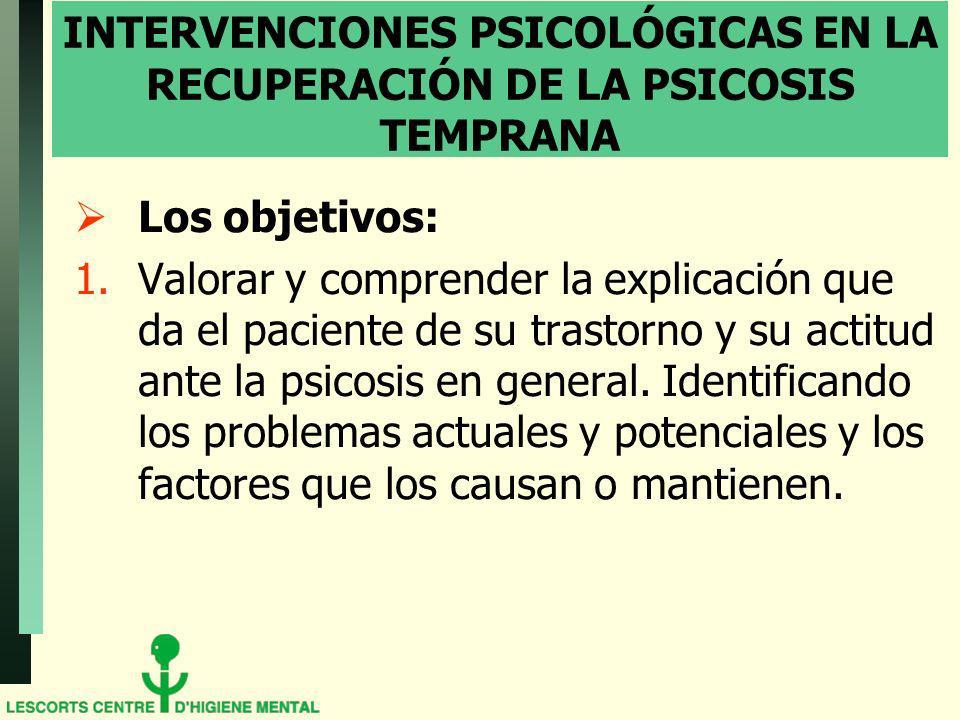 INTERVENCIONES PSICOLÓGICAS EN LA RECUPERACIÓN DE LA PSICOSIS TEMPRANA Los objetivos: 1.Valorar y comprender la explicación que da el paciente de su trastorno y su actitud ante la psicosis en general.