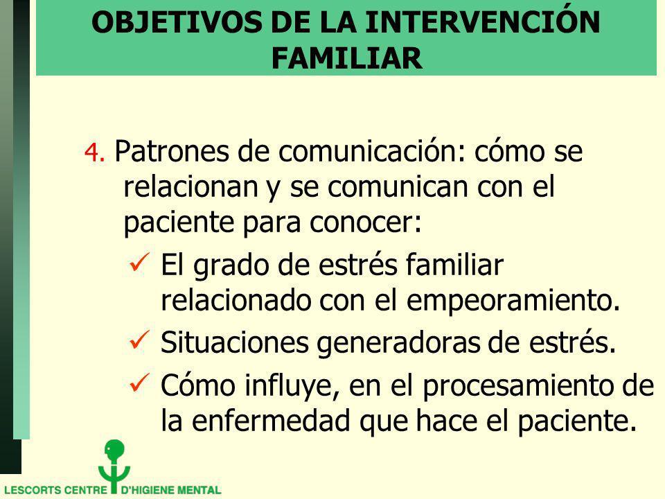 OBJETIVOS DE LA INTERVENCIÓN FAMILIAR 4. Patrones de comunicación: cómo se relacionan y se comunican con el paciente para conocer: El grado de estrés