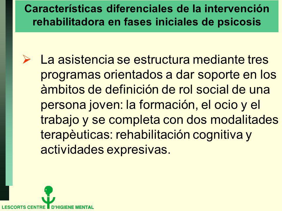 Características diferenciales de la intervención rehabilitadora en fases iniciales de psicosis La asistencia se estructura mediante tres programas ori