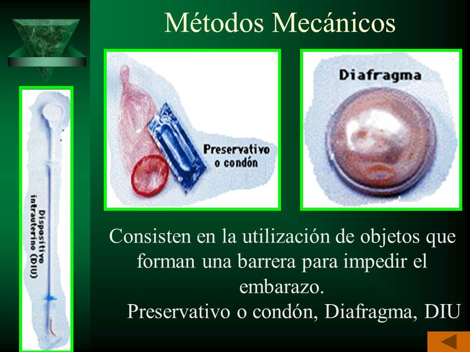 Métodos Químicos Consisten en el empleo de sustancias químicas que destruyen a los espermatozoides o alteran los ciclos ovárico y uterino Espermicidas