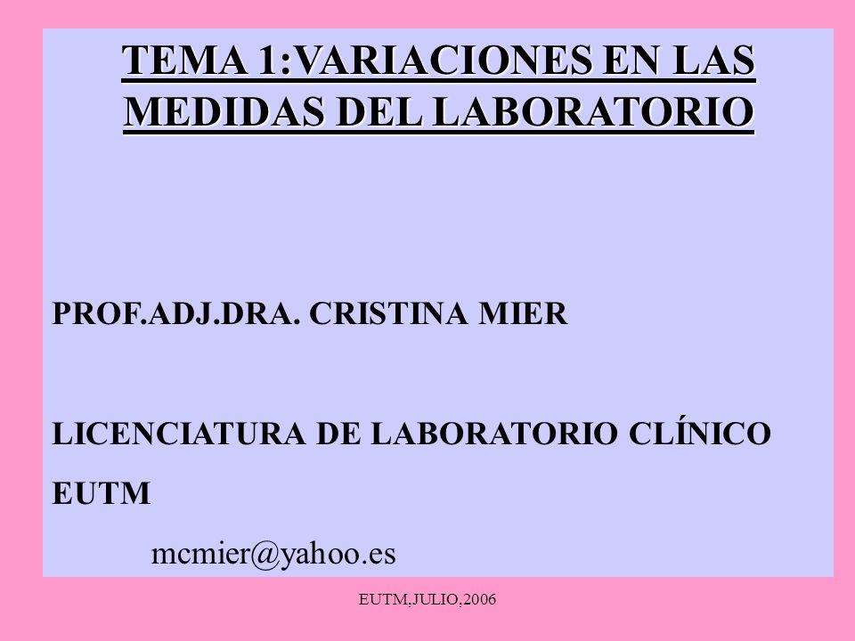 EUTM,JULIO,2006 TEMA 1:VARIACIONES EN LAS MEDIDAS DEL LABORATORIO PROF.ADJ.DRA. CRISTINA MIER LICENCIATURA DE LABORATORIO CLÍNICO EUTM mcmier@yahoo.es
