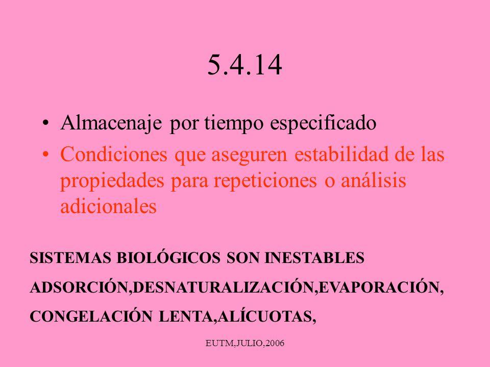 EUTM,JULIO,2006 5.4.14 Almacenaje por tiempo especificado Condiciones que aseguren estabilidad de las propiedades para repeticiones o análisis adicion