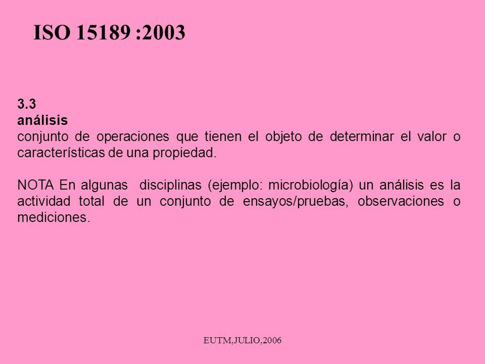 EUTM,JULIO,2006 3.3 análisis conjunto de operaciones que tienen el objeto de determinar el valor o características de una propiedad. NOTA En algunas d