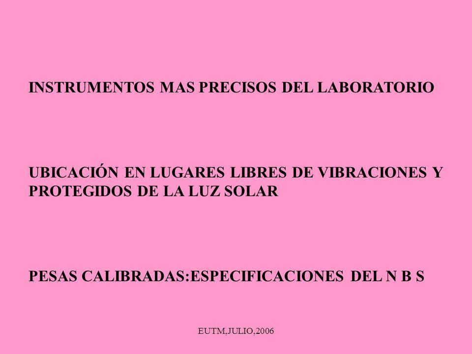 EUTM,JULIO,2006 INSTRUMENTOS MAS PRECISOS DEL LABORATORIO UBICACIÓN EN LUGARES LIBRES DE VIBRACIONES Y PROTEGIDOS DE LA LUZ SOLAR PESAS CALIBRADAS:ESP