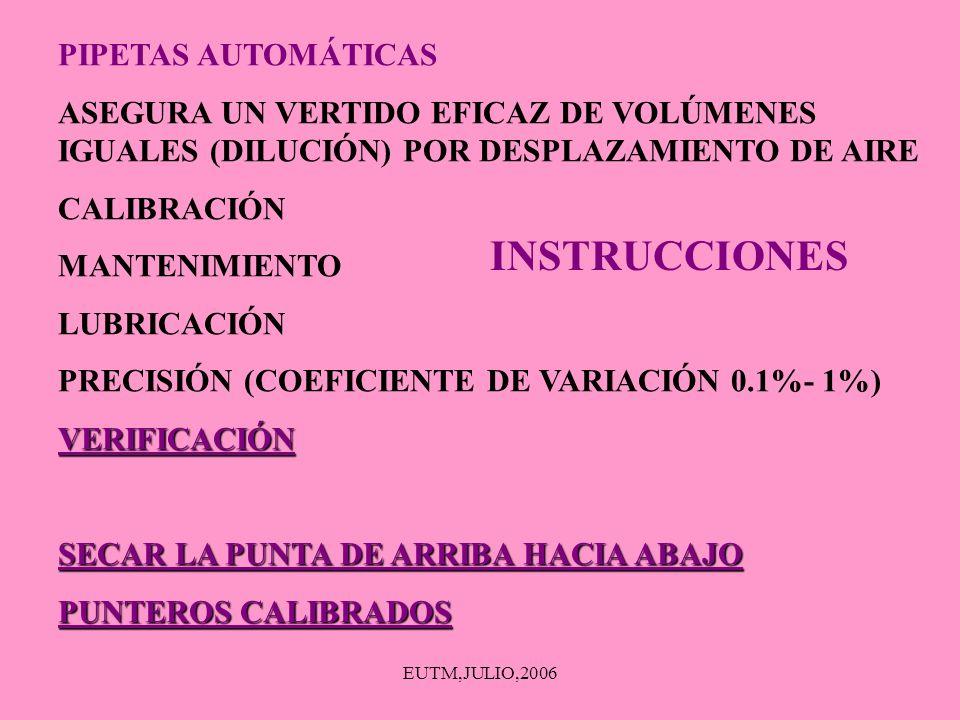 EUTM,JULIO,2006 PIPETAS AUTOMÁTICAS ASEGURA UN VERTIDO EFICAZ DE VOLÚMENES IGUALES (DILUCIÓN) POR DESPLAZAMIENTO DE AIRE CALIBRACIÓN MANTENIMIENTO LUB