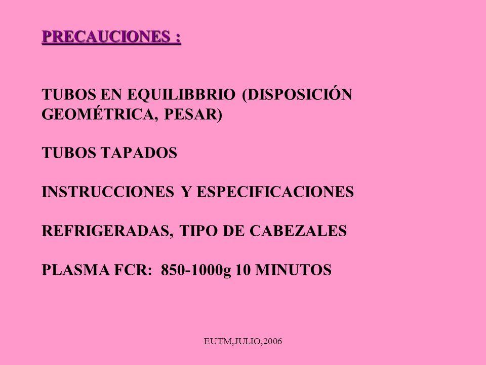 EUTM,JULIO,2006 PRECAUCIONES : PRECAUCIONES : TUBOS EN EQUILIBBRIO (DISPOSICIÓN GEOMÉTRICA, PESAR) TUBOS TAPADOS INSTRUCCIONES Y ESPECIFICACIONES REFR