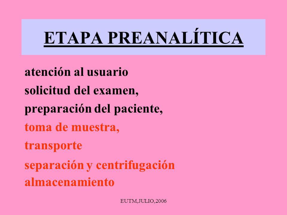 EUTM,JULIO,2006 ETAPA PREANALÍTICA atención al usuario solicitud del examen, preparación del paciente, toma de muestra, transporte almacenamiento sepa