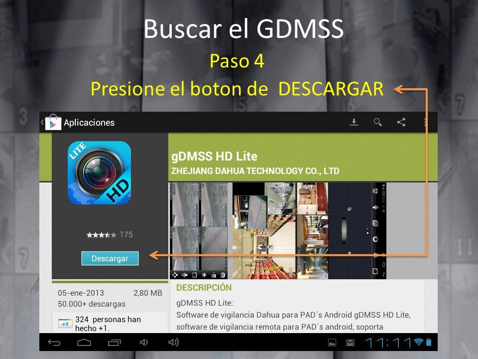 Buscar el GDMSS Paso 4 Presione el boton de DESCARGAR