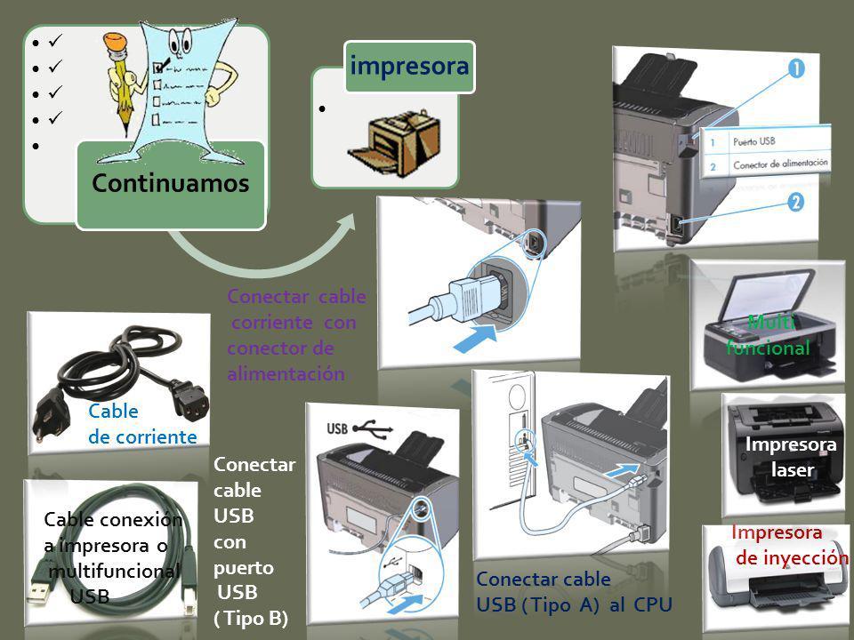 Impresora de inyección Impresora laser Multi funcional Cable conexión a impresora o multifuncional USB Cable de corriente Conectar cable corriente con