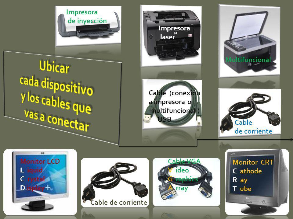 Impresora de inyección Impresora laser Multifuncional Cable (conexión a impresora o multifuncional ) USB Cable de corriente Monitor LCD L iquid C ryst