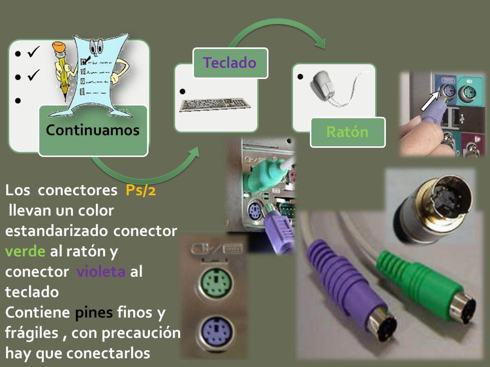 Los conectores Ps/2 llevan un color estandarizado conector verde al ratón y conector violeta al teclado Contiene pines finos y frágiles, con precaució