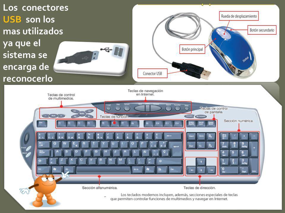 Los conectores USB son los mas utilizados ya que el sistema se encarga de reconocerlo