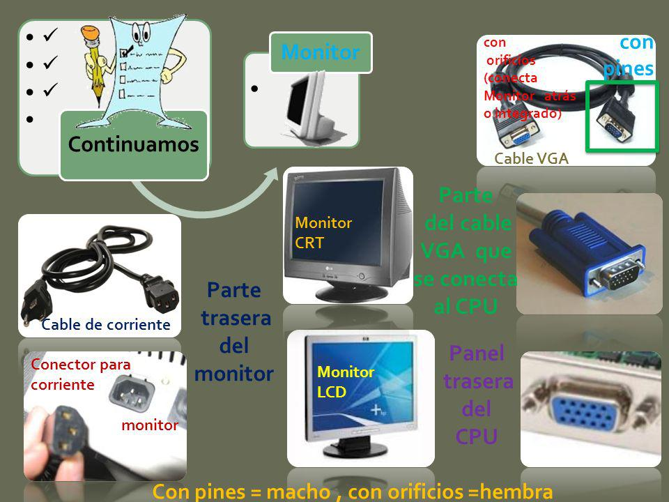 Parte trasera del monitor Monitor LCD Monitor CRT Cable de corriente Cable VGA Conector para corriente monitor Parte del cable VGA que se conecta al C