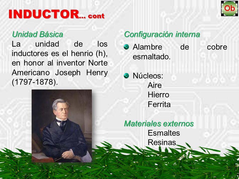 INDUCTOR … cont Unidad Básica La unidad de los inductores es el henrio (h), en honor al inventor Norte Americano Joseph Henry (1797-1878).
