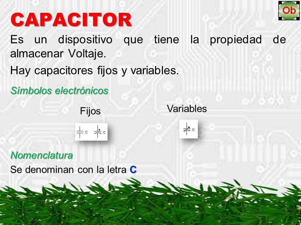 CAPACITOR Es un dispositivo que tiene la propiedad de almacenar Voltaje.