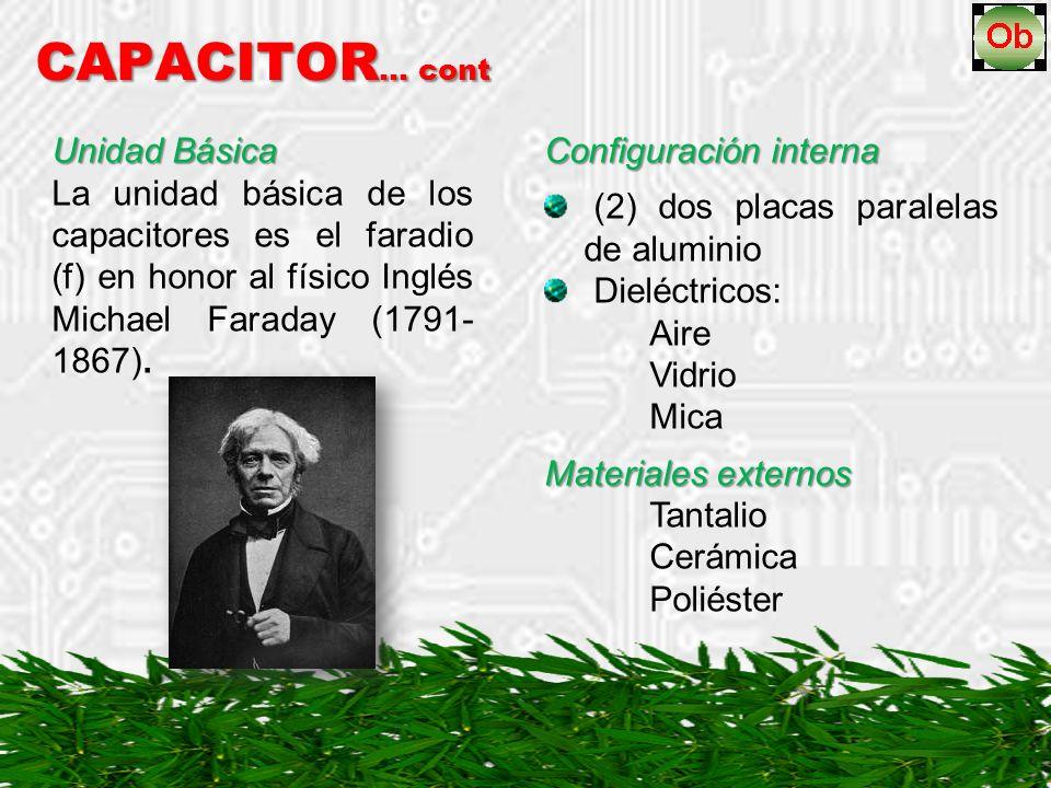 CAPACITOR … cont Unidad Básica La unidad básica de los capacitores es el faradio (f) en honor al físico Inglés Michael Faraday (1791- 1867).